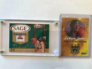 LeBron James, 2 cards, 2002, Sage Pangos + St. Vincent/St. Mary HS