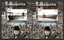 Chad 2016 CTO WWII WW2 Submarines 2x 1v M/S Churchill Ships Boats Stamps