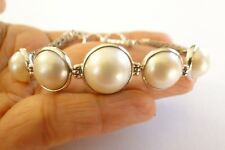 5 Round White Mabe Pearl Balinese 925 Sterling Silver Bracelet