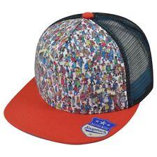 Wheres Waldo Screen Print Trucker Mesh Flat Bill Two Tone Snapback Hat Cap
