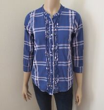 Hollister Womens Plaid Shirt Top Blouse Size Small Ruffles Blue 3/4 Sleeves