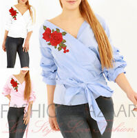 New Womens Embroidered Rose Front Tie Frill Knot Shirt Casual Summer Blouse Top