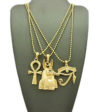 New Ankh Cross, Eye of Heru & Anubis Pendant & Ball Chain Necklace Set - RC1994G