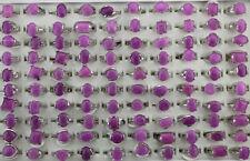 Wholesale Lots 40pcs Mixed Fashion Jewelry Purple Natural Stone Women Rings