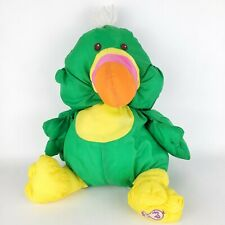 Vtg 80s Fisher Price Puffalump Bird Toucan Green Parrot Plush Stuffed Animal Toy