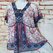 Knox Rose Top L / XL Flowy Boho Hippie Floral Silky Lace Up Peasant Shirt Blouse