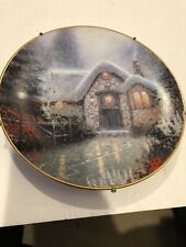 knowles collector plates Thomas Kinkade's Woodsman's Thatch Cottage 1992 Plate #