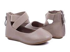 Taupe Cute Zip Dress Kids Ballet Flats Girls Flats Toddler Casual Shoes Size 13
