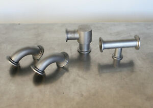 Lot of Stainless Right Angle / Elbow / Tee Vacuum Fittings - NW25 / KF25 Flange