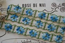 1y VTG OMBRE BLUE DAISY FLOWER VENISE SCHIFFLI APPLIQUE LACE RIBBON TRIM FRENCH