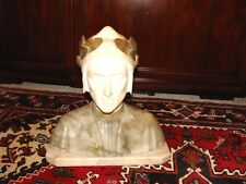 Masterpiece Marble & Alabaster DANTE BUST! MAJESTIC! MINT SIGNED-E. GUERRIERS!!
