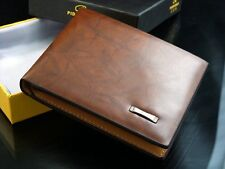 Mens Leather Wallet ID Credit Cards Holder Bifold Purse Money Clip Purse Bag