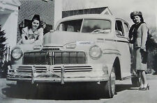 """12 By 18"""" Black & White Picture 1948 Mercury 4 door front view"""