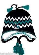 SAN JOSE SHARKS ZEPHYR NHL HOCKEY TEAM TASSEL KNIT HAT/BEANIE/TOQUE/CHULLO