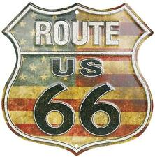 """Route 66 American Flag Novelty Route Badge Shield 12"""" Sign Garage Barn Auto Shop"""