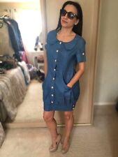 Denim look blue 100% cotton cool fabric summer shirt dress Nanny UK 10-12