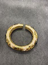 Lauren G Adams Gold Tone White Enamel Rhinestone Bracelet