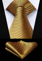 "Men's Check Plaid Gold Necktie Handkerchief Set Classic 3.4"" Silk Ties #TC614D8S"