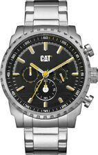 CAT Podium Chrono Silver Men Watch, 45 mm case, black face, SS strap, BK/YL dial