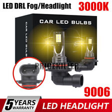 2X 9006 Yellow LED Fog Light Conversion Kit Bulb High Power 3000K 110W Headlight