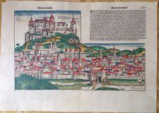 Doppelseitige Stadtansicht WÜRZBURG Schedel Weltchronik 1493, koloriert.