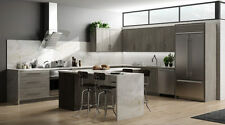 RTA 10X10 Contemporary Melamine Matrix Silver Kitchen Cabinets, Slab Door Gray