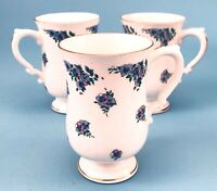 Royal Victoria Floral Pedestal Coffee/Tea Mugs (Set of 3) - Made in England MINT