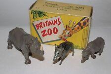 Britains Zoo Series No. 9002; 1 Wild Boar, 1 Baby Rhino, 1 Rhino, Boxed Lot #2