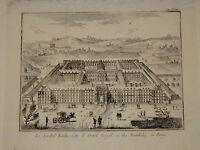 RARE gravure Italienne XVIII VUE ANIMEE HOTEL des INVALIDES PARIS LOUIS XV 1750