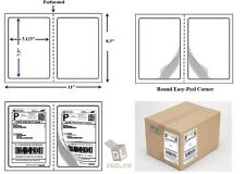 """Perforated 1000 Quality Round Corner Shipping Labels 2 Per Sheet 7.5"""" x 5.125"""""""