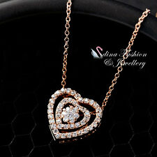 18K Rose Gold Plated Simulated Diamond Studded Exquisite Double Heart Necklace