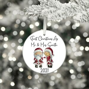 First Christmas As Mr & Mrs Personalise Bauble Hanging Tree Decoration Gonks