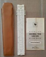 Sterling Slide Rule Decimal Trig Log-Log 1965 Vintage USA W/Case & Instructions