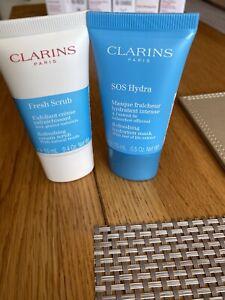 Clarins Fresh Scrub 15ml + SOS Hydra Refreshing Hydration Mask 15ml New sealed