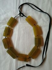 Marni horn ribbon statement necklace square chunky yellow adjustable with box