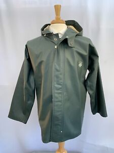 VTG Grundens Of Sweden Brigg Cotton PVC Fishing Heavy Rain Jacket Hooded Men's S
