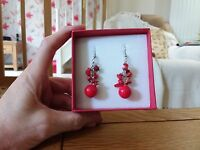 Brand new Tibetan silver dangling earrings with lots real red coral stones + box