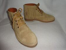 """MADEWELL x DARYL K """"SHAWNA"""" BEIGE SUEDE LEATHER FRINGED FASHION ANKLE BOOTS--8.5"""