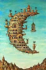 Incorniciato stampa-Salvador Dali vita sulla luna (Pittura foto poster arte)