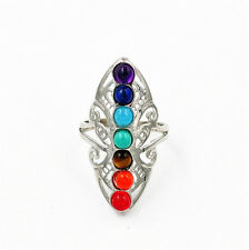 Silver Healing Hollow Stones 7 Chakra Adjustable Ring Thumb Reiki Gem Ring