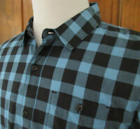EUC TRAVIS MATHEW Mens L BLUE BLACK BUFFALO PLAID CHECK L/S Button Front Shirt