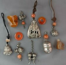 Antique Vintage Chinese Silver Pendants with Carnelian Beads