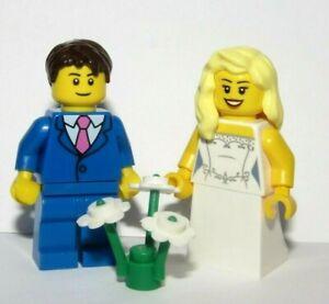 Lego Wedding Minifigure Figure Bride Blonde Hair & Groom Blue Suit Pink Tie