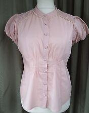 Edina Ronay rosa blusa cotone UK14 EU42 condizioni eccellenti