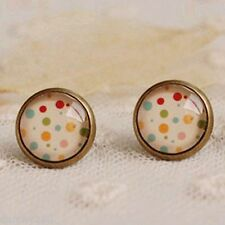 Coloured POLKA DOT STUD EARRINGS Glass DOME CABOCHON Retro Skater Rockabilly New