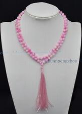 6mm Pink Multicolor Kunzite Gems 108 Prayer Beads Tibetan Buddhist Mala Necklace