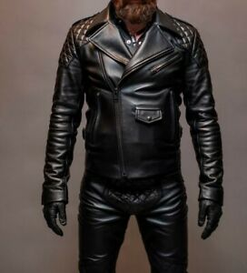 Men's Real Leather Bikers Jacket With Quilted Panels BLUF Leather Jacket
