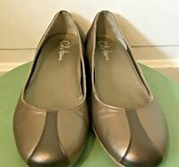 Women's Cole Haan Slip On Leather Gold Loafers Size 8 B style D28867