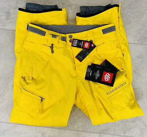 Mens 686 Smarty InfiDry Cargo Snow Pants Ski Snowboard Yellow Small All Access