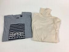 Vintage Long Sleeve gray Esprit Sportiv tshirt + cream turtleneck shirt size S